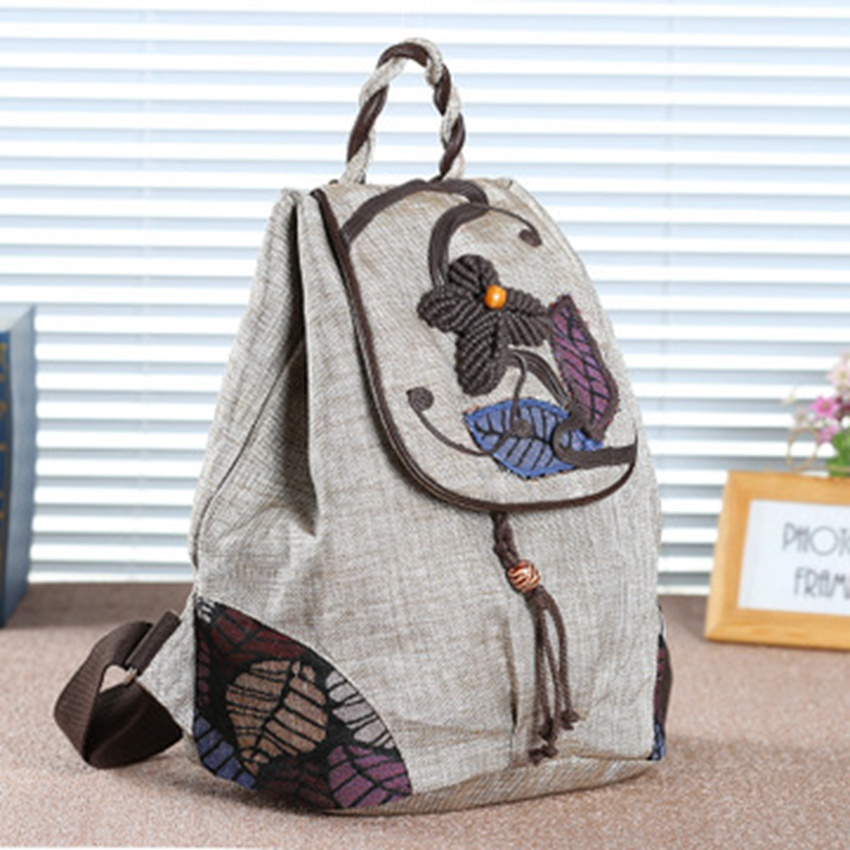 New ethnic wind woven wild women's backpack travel vacation canvas retro Chinese style literary cloth backpack