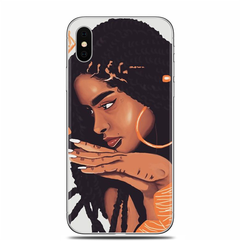 , 2bunz Melanin Poppin Aba Soft Silicone Phone Case for iPhone X XR XS Max 6 6s 7 8 Plus 5 5S SE Fashion Black Girl Cover