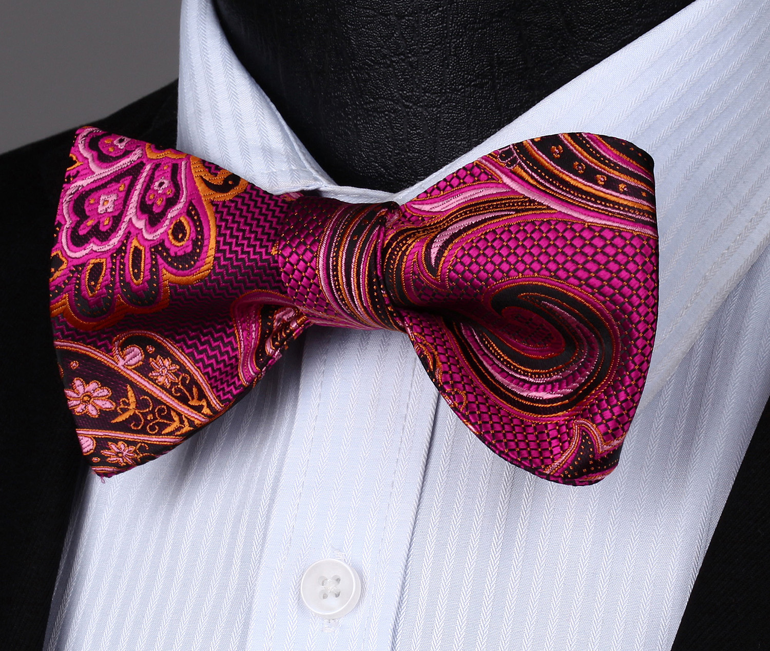 Pink Paisley Self Bow Tie Classic Mens Silk Necktie Bowtie Set Party Wedding