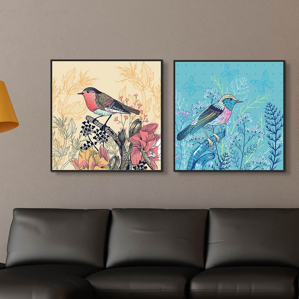 Nordic Painting On Canvas Feeling Of Nature Lovely Bird