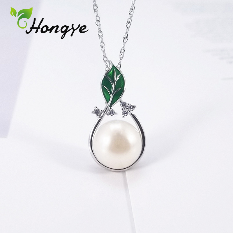 2019 New Silver Color Green Leaf Pendant Necklaces for Women Collars Fashion Jewelry Collarbone Real Pearl Necklace Wholesale