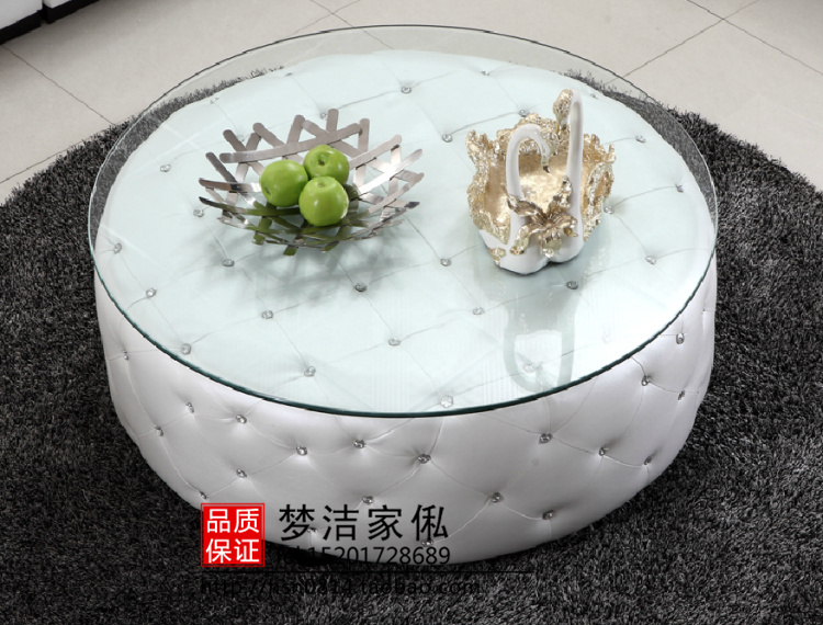 Online Shop Manufacturers Custom Neoclassical Coffee Fashion Leather Round Coffee Table Crystal Buckle Round A Few Post Modern Living Ro Aliexpress
