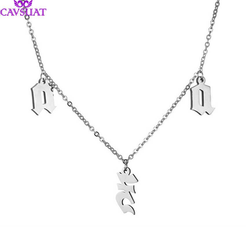 Gothic spersonalizowany stare angielskiego początkowej zawieszka w kształcie litery naszyjniki dla kobiet mężczyzn biżuteria na zamówienie ze stali nierdzewnej łańcuch Xmas prezent