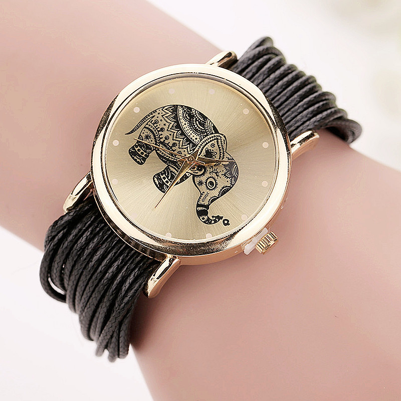 Dropshipping Women Leather Bracelet Watches Fashion Casual Elephant Wrist Watches Relojes Mujer Relogio Feminino Clock