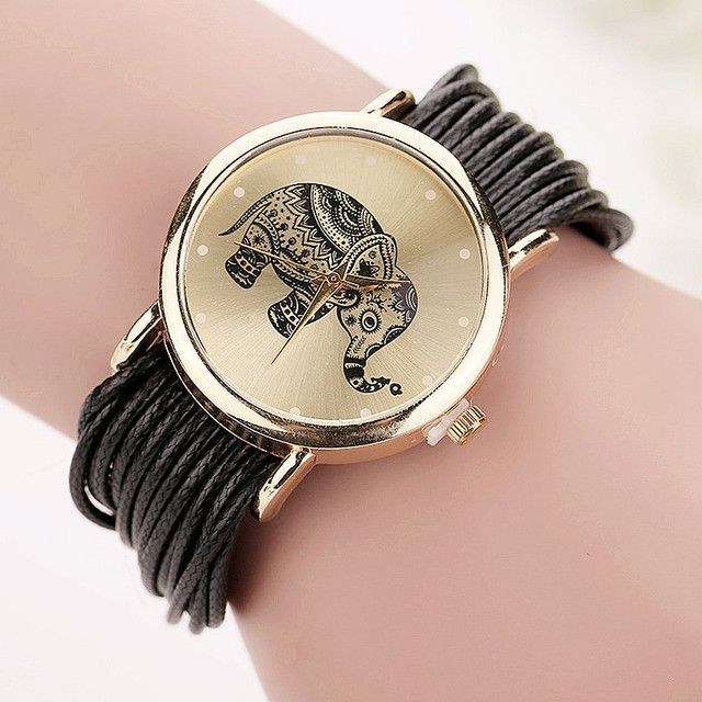 Dropshipping Women Leather Bracelet Watches Fashion Casual Elephant Wrist Watche