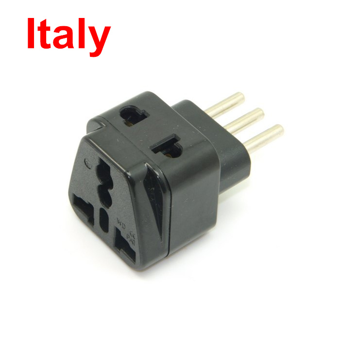 USA UK AU Europe to Italy Grounded Universal Travel converter Splitter Adapter AC Italian Uruguay Power Plug