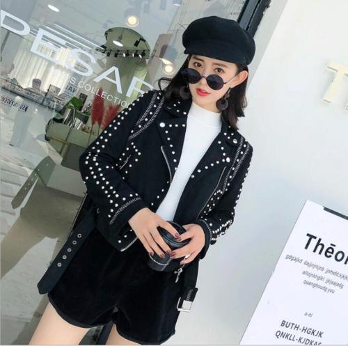 Studded   Suede   Short Long Sleeve Coat Women's Faux   Leather   Jacket Outwear S33