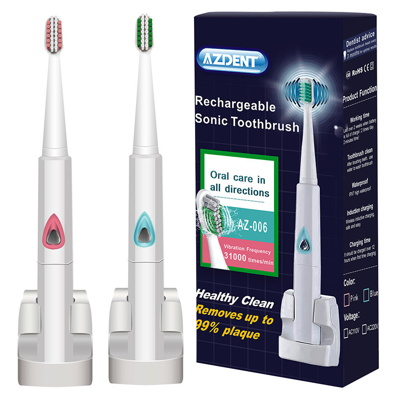 AZDENT Wireless Charge Sonic Electric Toothbrush Automatic Ultrasonic Rechargeable Electric Tooth Brush Teeth Brush 4 Brush Head 2017 220v pink a39plus 55 wireless ultrasonic electric toothbrush electric tooth brush rechargeable 4 heads teeth brush