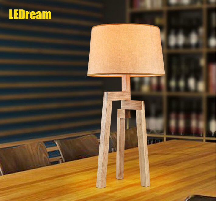Scandinavian simple wooden desk lamp bedside lamp desk reading lamps and lanterns is real wood the cafe restaurant table lamp jingdezhen ceramic lamps and lanterns of blue and white enamel thin waist drum desk lamp506