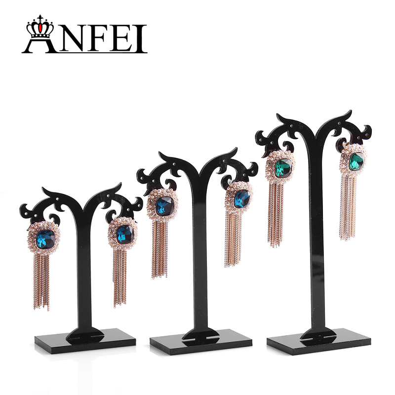 anfei-3-lots-black-acylic-earring-tree-shaped-display-stand-holderfashion-jewelry-displaysold-per-pa
