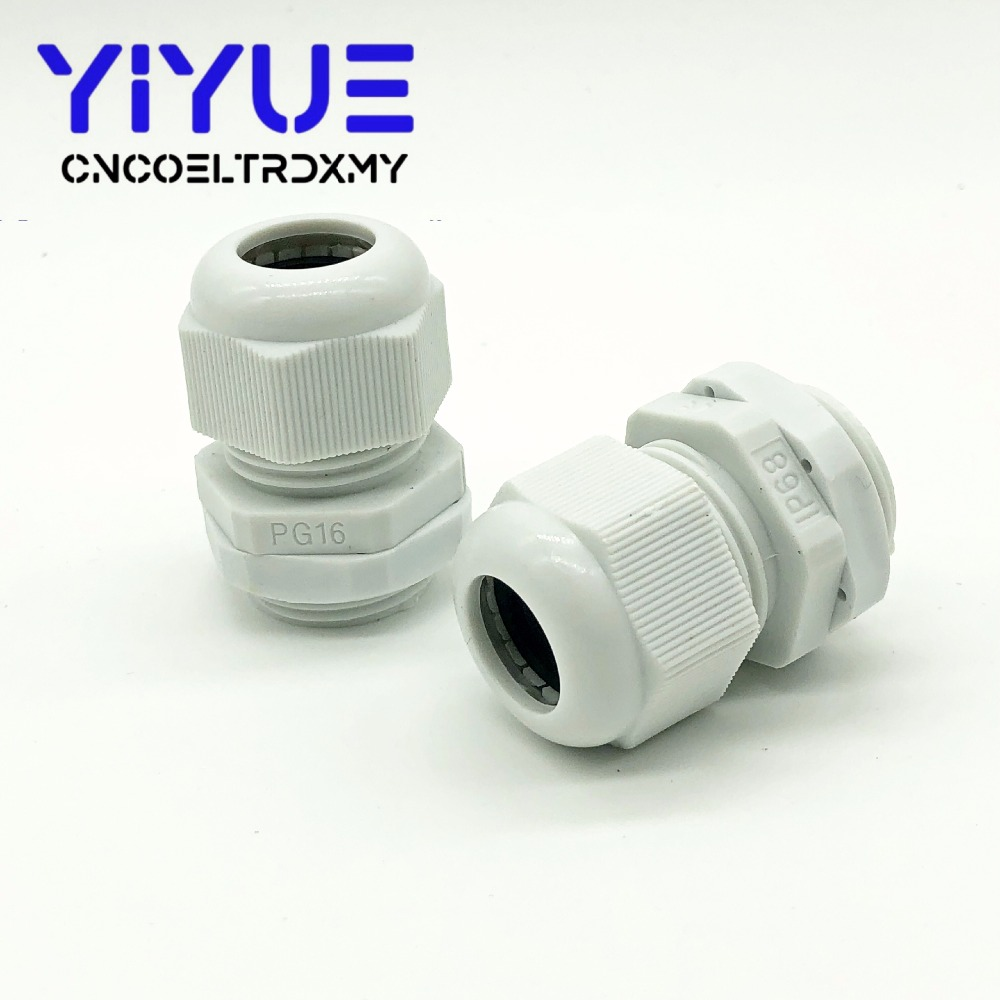 5pcslot IP68 PG7 for 3-6.5mm PG9 PG11 PG13.5 PG16 PG19 Wire Cable CE White Black Waterproof Nylon Plastic Cable Gland Connector (6)