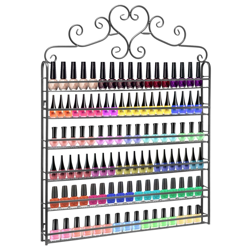 New Heart Metal Frame Nail Polish Display Wall Rack stand Cosmetics Shelf perfume holder Fit Up To 100-Bottle Black