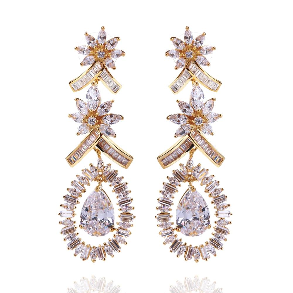 Boucles d'oreilles en cuivre avec pierre zircon cubique, boucles d'oreilles longues de luxe, bijoux fantaisie, livraison gratuite