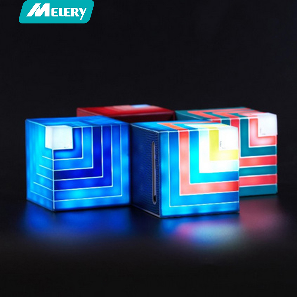 Funny Cubic Rainbow luminous Bluetooth Speaker Led flashing Light Stereo Wireless Subwoofer With Mic TF card