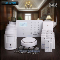 HOMSECUR Wireless&wired WCDMA 3G/GSM Home Pet Immune Alarm System With SMS Notification for Real time Arm/Disarm Status