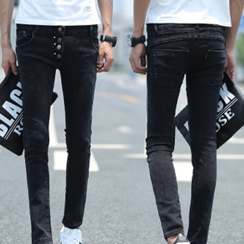 Fashion 2017 Autumn fashion menswear Skinny Jeans Men stretch rivets Black feet pants teenagers men s