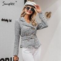 Simplee Plaid frayed edge tweed jacket coat Women v neck double breasted button belt ladies coat Long sleeve outwear blazer coat