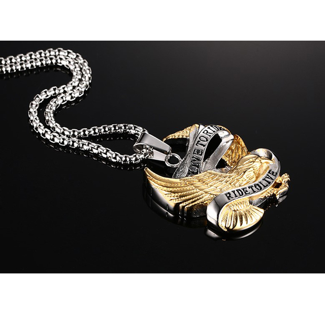 Stainless Steel Eagle Necklace Pendant in Gold And Silver