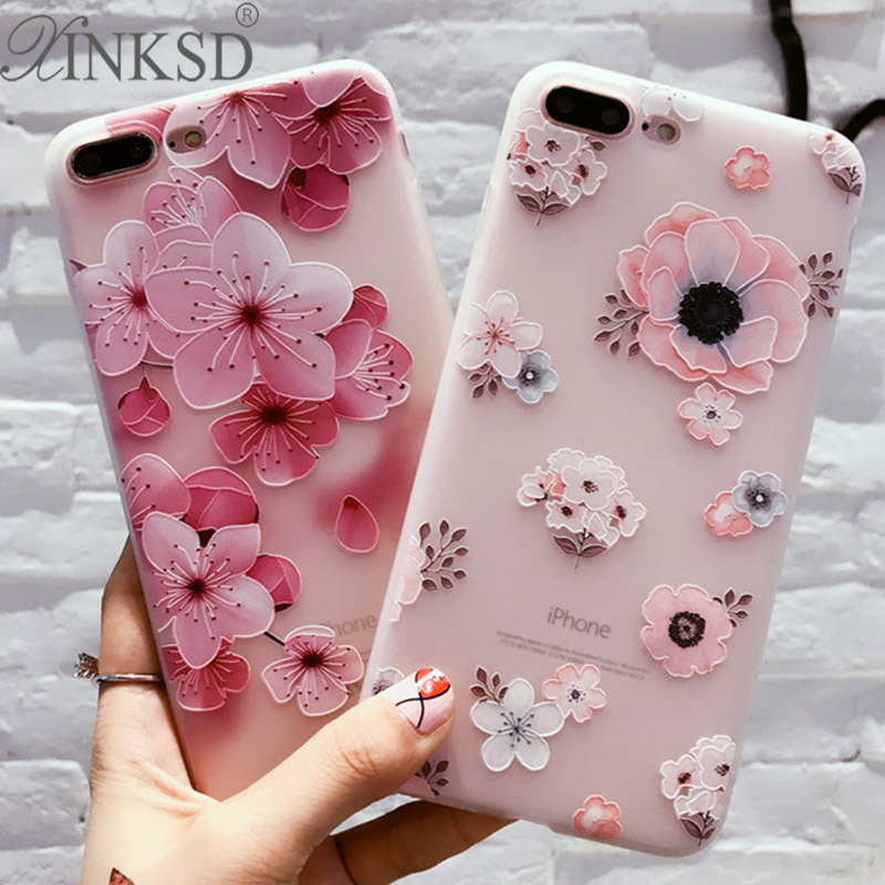 Galleria fotografica 3D Relief Case For iPhone 7 Case Cute Flower Silicone Matte Soft Coque For iPhone 6 Case Luxury Slim Cover For iPhone 7 6 Plus