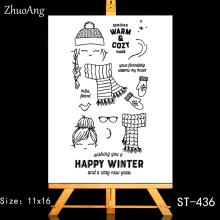 ZhuoAng Happy winter Transparent and Clear Stamp DIY Scrapbooking Album Card Making Decoration