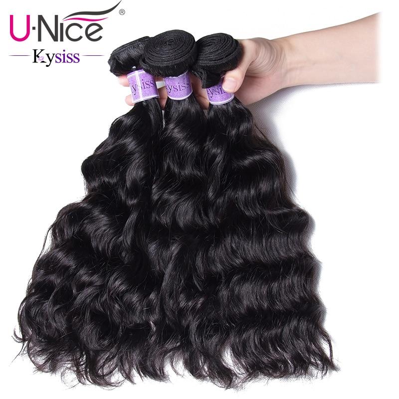 UNice Hair Kysiss Series Peruvian Natural Wave 3 Bundles Human Hair Weave Bundles Natural Color Virgin