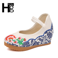 HEE GRAND Plus Size 35 40 Chinese Style Traditional Women S Loafers Unique Manual Blue Flower