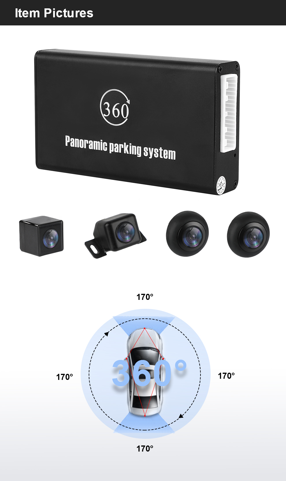 Panoramic Rearview Camera 360 Degree Parking System Auto Car Camera All Round Night Vision Waterproof Reverse Camera De Recul (6)
