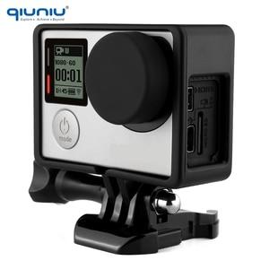 Image 2 - QIUNIU para Gopro marco de protección estándar montaje + lente UV + tapa de lente de cámara cubierta + soporte Base + soporte de Kit de tornillos para Go Pro Hero 3 3 + 4