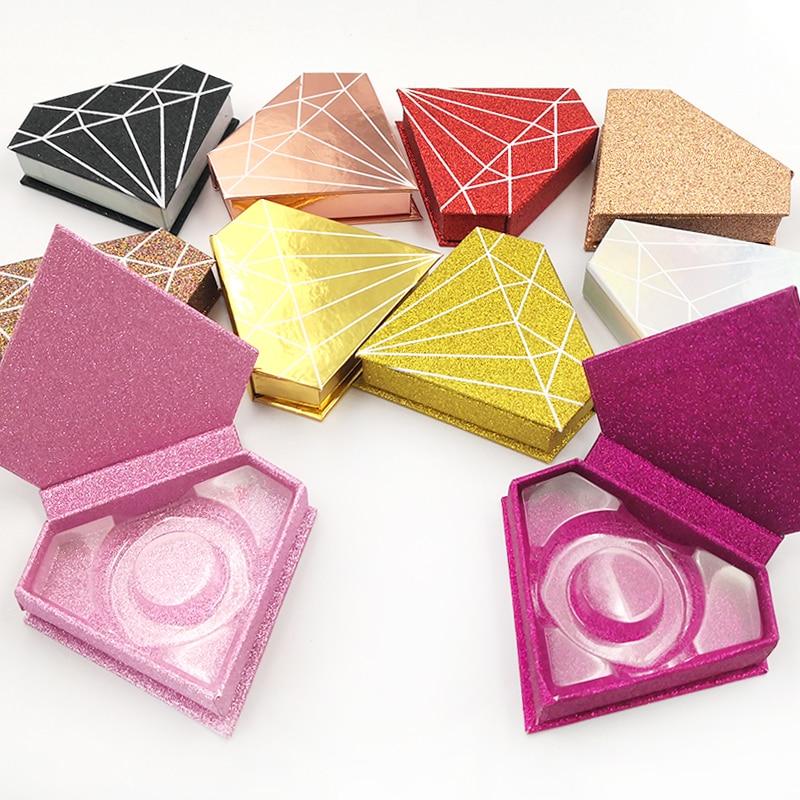 10/20/50pcs Wholesale False Eyelashes Packaging Box Fake 3d Mink Lashes Boxes Faux Cils Strip Diamond Magnetic Case Empty
