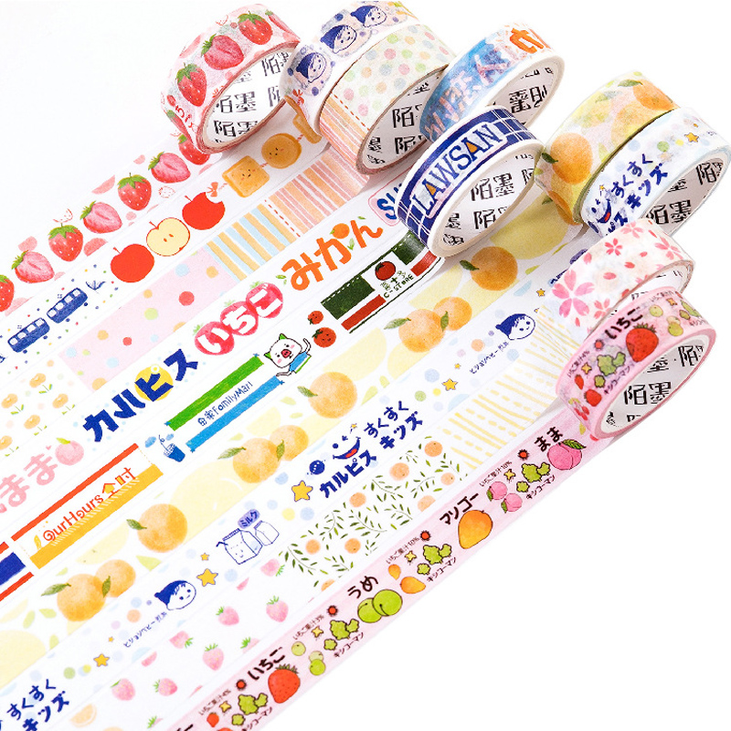 1.5cm*5M Summer Fruits Style Strawberry Orange DIY Decorative Masking Washi Tape