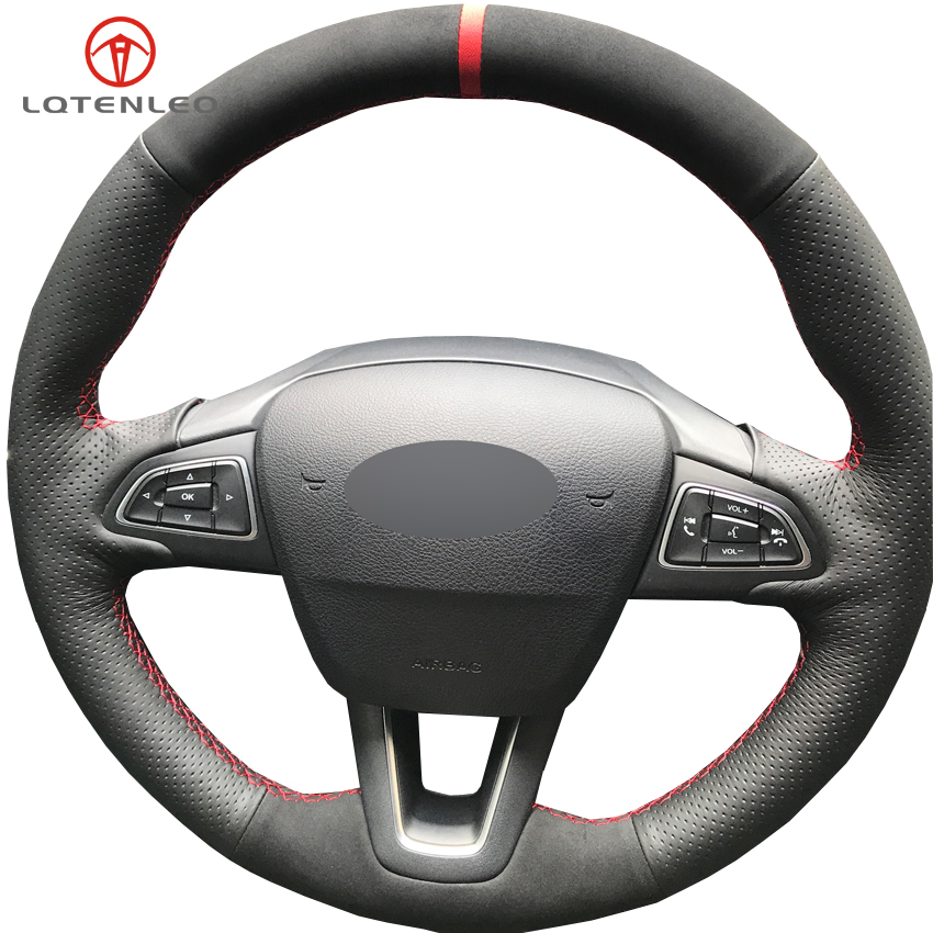 LQTENLEO Black Genuine Leather Suede Car Steering Wheel Cover For Ford Focus 3 2014 2018 Kuga