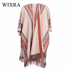 Wixra Warm and Charm New Women Knitting Cardigans Autumn Winter 2017 Women Batwing Sleeve Tassel Crochet Poncho Sweater Coat