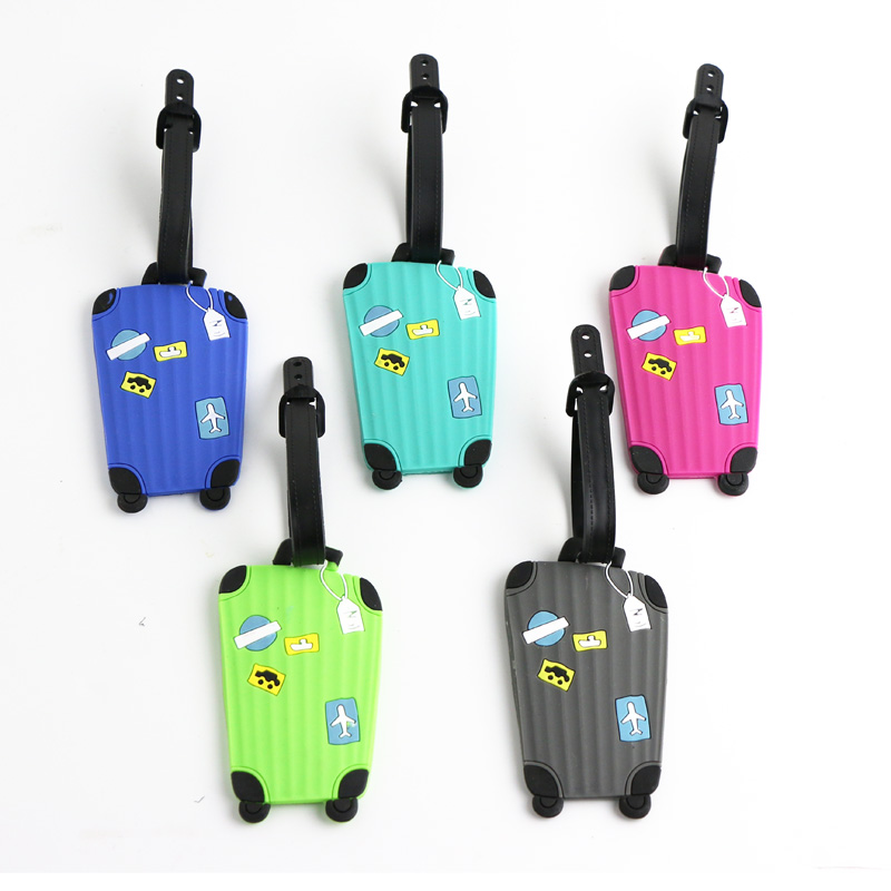 Rectangle Trolley Case Shaped Cartoon Travel Accessories Luggage Tag Suitcase Travel Bag Luggage Label