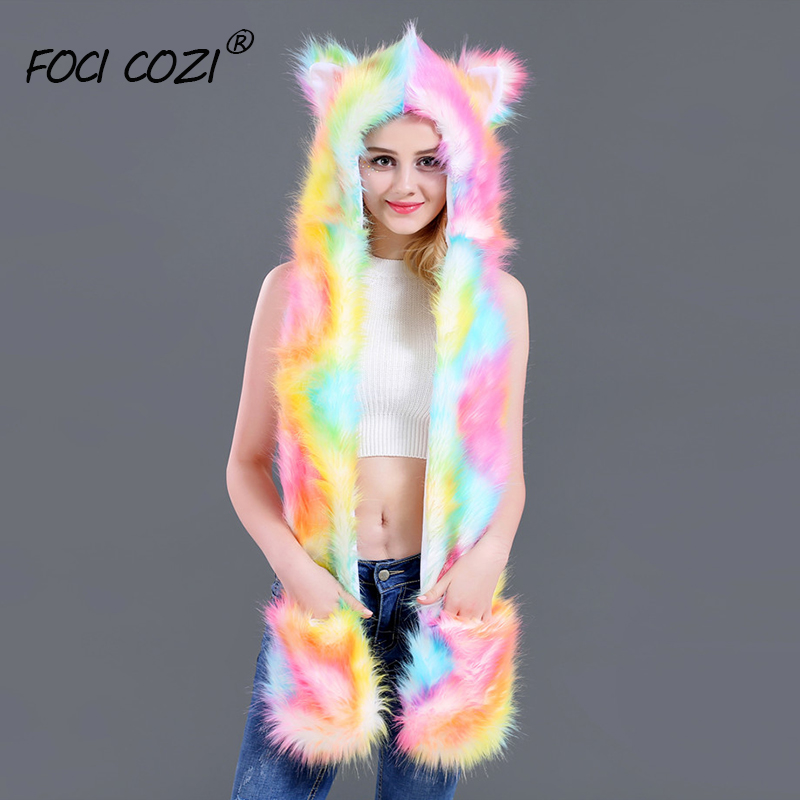 2019 New Winter Faux Fur Caps Women Rainbow Colorful Warm Ears Girls Caps Novelty Cartoon Animals Party Hat Female Cosplay Hats