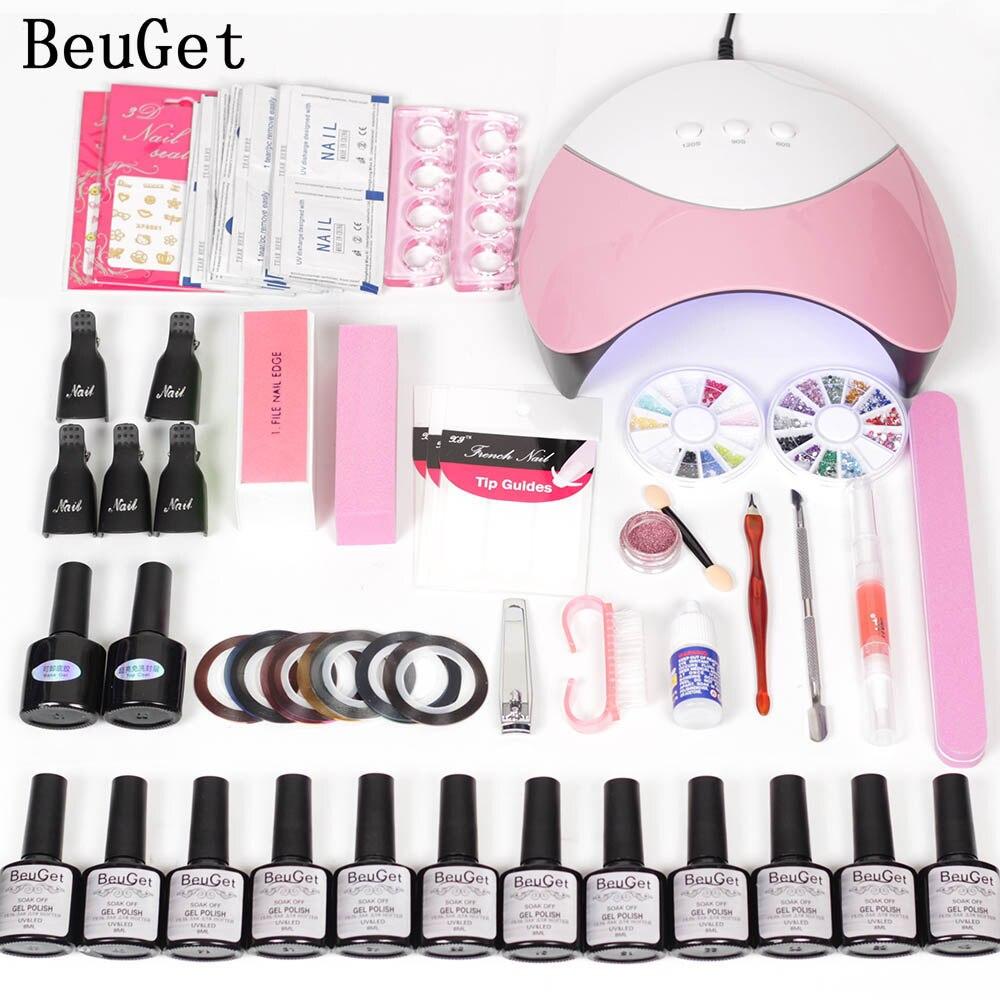 BeuGet 12color nail gel polish kit 36W/24W LED dryer lamp DIY nail mirror powder Varnish nail art tools set for Manicure bk bk 03 flocking velvet manicure art polish nail powder white