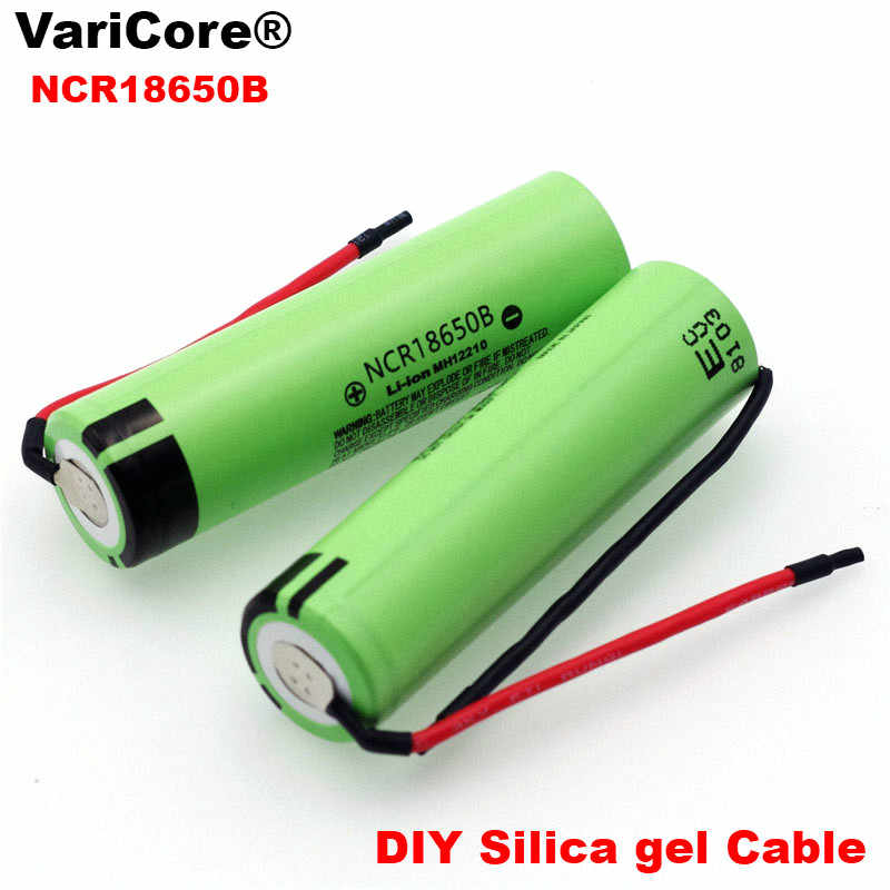 New Original NCR18650B 3.7 v 3400mAh 18650 Lithium Rechargeable Battery Welding Silica gel Cable DIY batteries