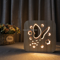 Cartoon wooden flower butterfly hollow design night lamp warm lighting USB power lamp as creative gift or home club decoration