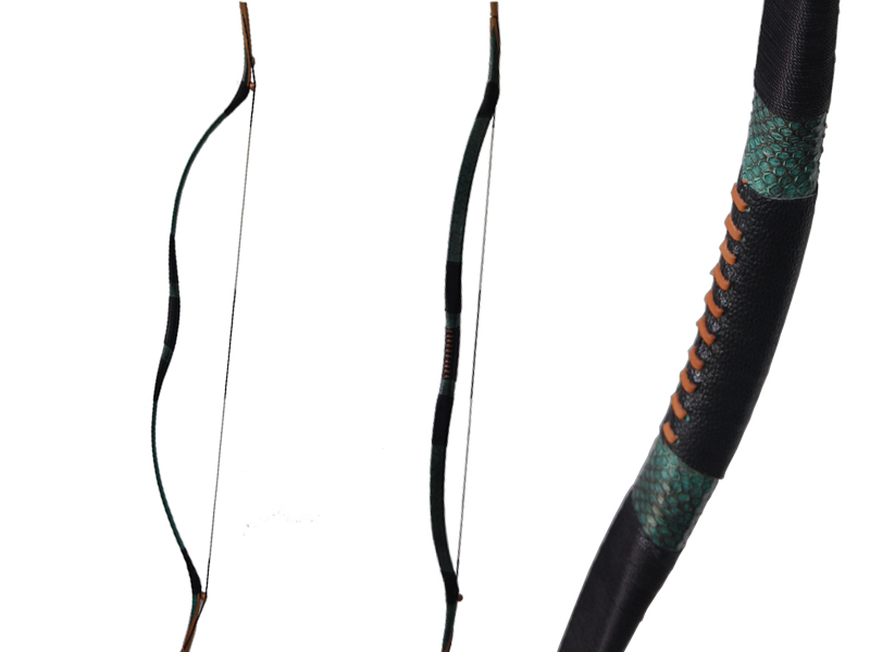 youth or adult archery hunting green snakeskin recurve long bow 35lbs compatible for carbon arrow or fiberglass arrow LH or RH 1 piece hotsale black snakeskin wooden recurve bow 45lbs archery hunting bow