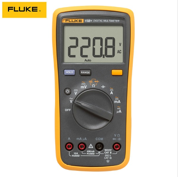 Free shipping FLUKE 15B+ AC/DC Voltage Current Capacitance Ohm Auto/Manual Range Digital Multimeter Meter my68 handheld auto range digital multimeter dmm w capacitance frequency