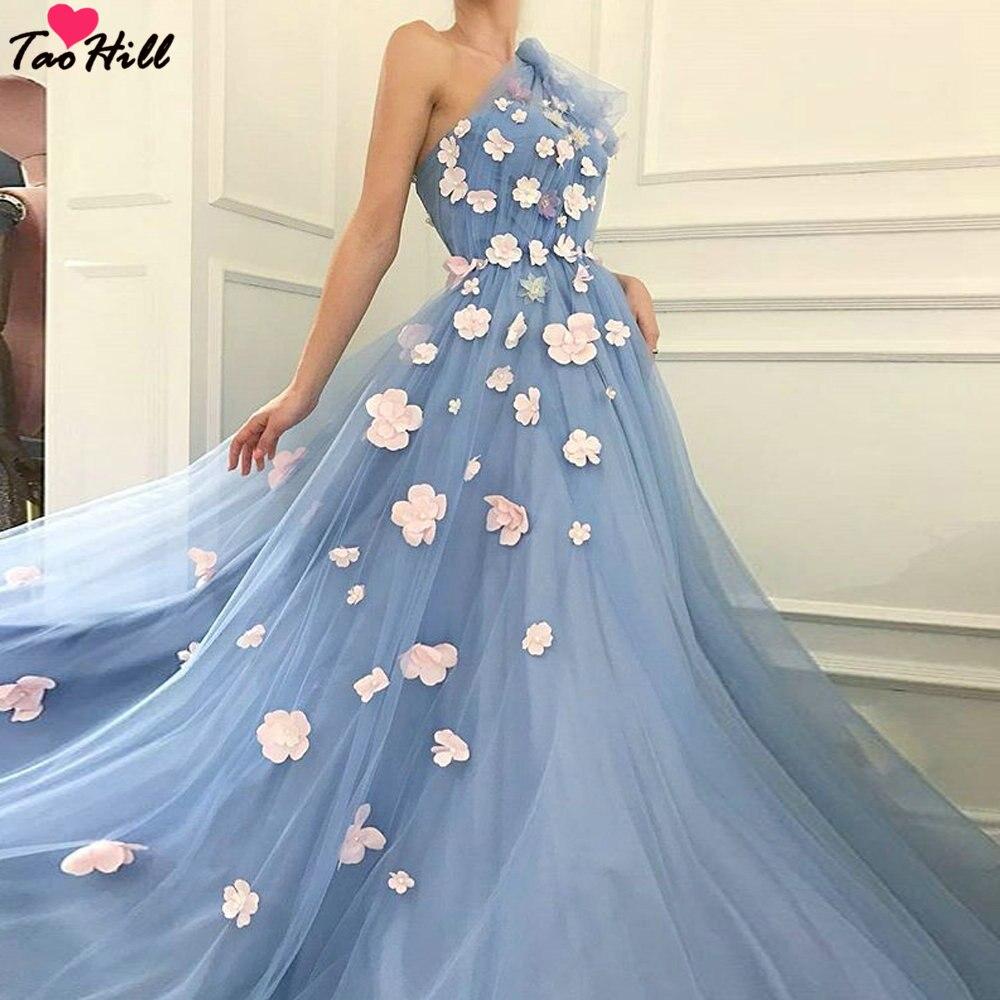 TaoHill Evening Dresses Blue A line One Shoulder Handmade Flower Applique Pleats Elegant Dress Women for Wedding Party