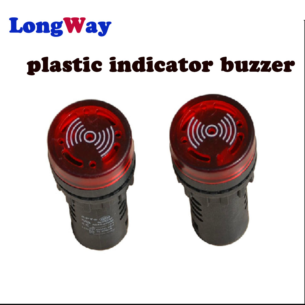 10 PCS Red LED Indicator Light with Buzzer 24VDC 22mm Diameter  60mm Height
