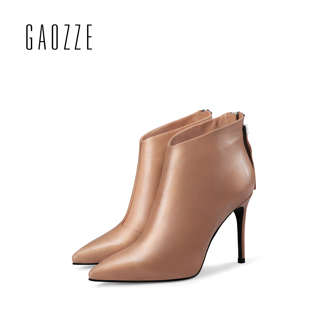 GAOZZE sexy high-heeled ankle boots for women genuine leather ankle boots pointed toe autumn women Tassel boots shoes 2017 new