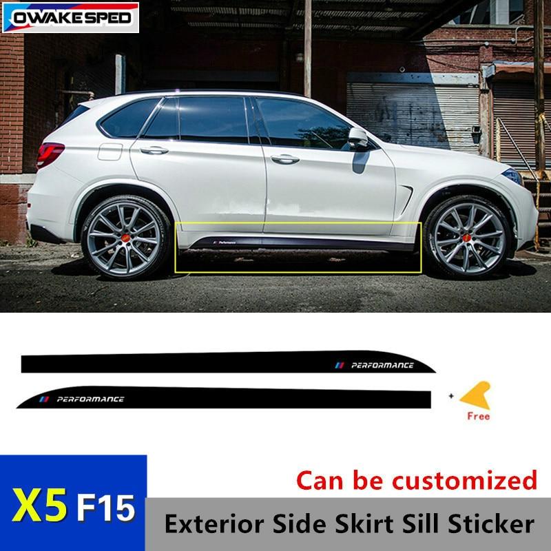 For BMW F15 X5 M Type ///Performance Auto Door Side Skirt Sills Sticker Car Body Carbon Fiber Sticker Sport Racing Styling