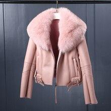 Women's Shearling Coat Motorcycle Leather Jacket With Fox Fur Collar Coat Women Slim Sheepskin Short Outerwear Custom TJ8002
