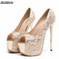 DiJiGirls donne silver glitter pumps 16 cm tacchi alti della piattaforma scarpe donna festa di nozze d'oro tacco alto scarpe open toe Stiletto