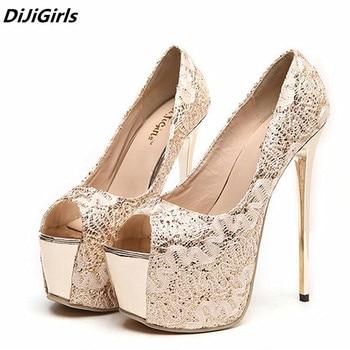 DiJiGirls women silver glitter pumps 16 cm high heels platform shoes ...