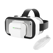 VR Shinecon 5.0 VR Box 3D Virtual Reality Goggles with Remote Game Controller Gamepad for 4.7-6 Smart Phone Video Cinema Glasses