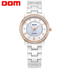 2016 DOM Brand Ceramic Watch For Women Classic Rhinestone Style Design Fashion Casual Ladeis Quartz Waterproof Wristwatch T-558