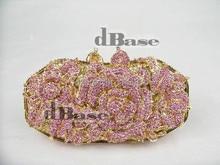 1514 PINK Crystal Floral Flower Rose Wedding Bridal Party Night Golden hollow Metal Evening purse clutch bag handbag