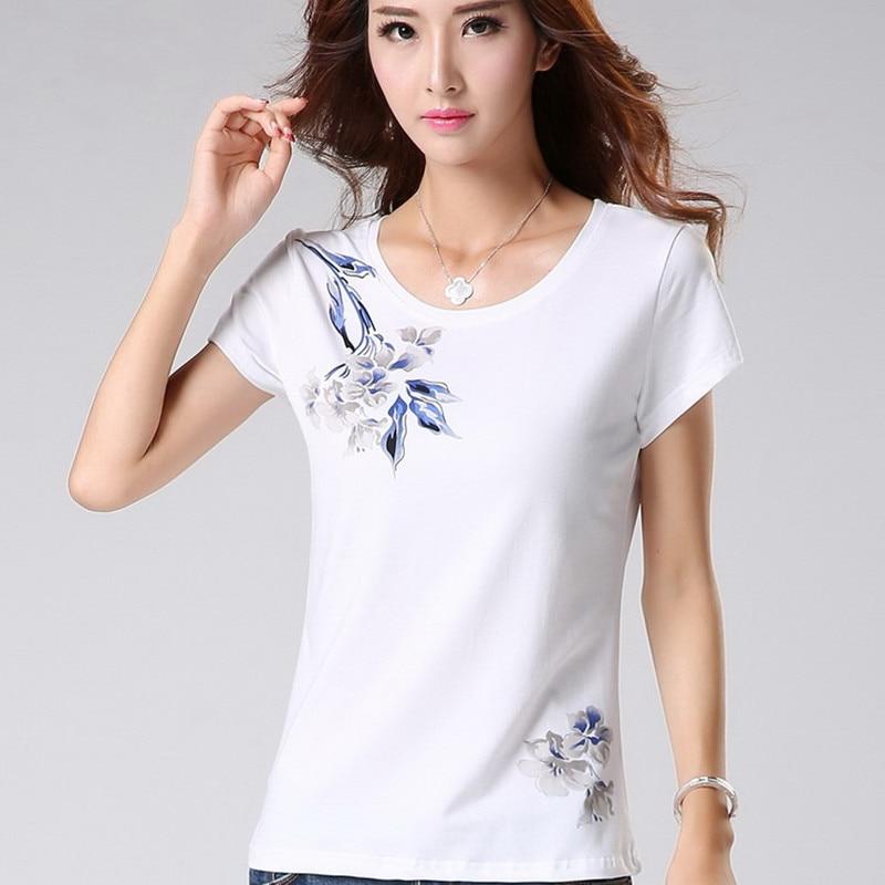 M-3XL Summer Women's Cotton Short-sleeve T-shirt Female Slim O-neck Regular Ladies Streetwear Tops T-shirt Casual Flower T Shirt